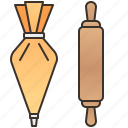 bag, cream, pastry, pin, rolling icon