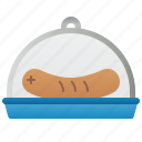 cover, dish, dome, glass, sausage