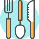 cutlery, fork, kitchen, knife, spoon, tableware, utensil icon