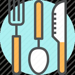 cutlery, fork, kitchen, knife, spoon, tableware, utensil icon