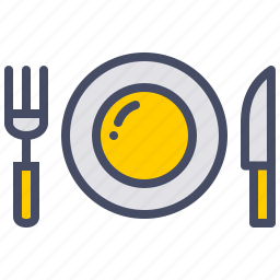 breakfast, dinner, eat, fork, knife, plate, restaurant icon