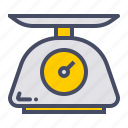 appliance, food, grams, measure, scale, weigh, weighing icon