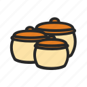 kitchenware, pots, set, kitchen icon