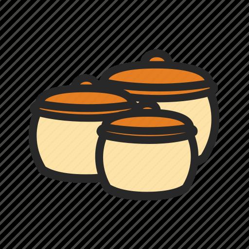 kitchen, kitchenware, pots, set icon