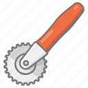 cookware, cutter, kitchen, pastry, utensil, wheel icon