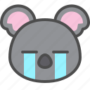cute, cry, face, avatar, koala, australia icon
