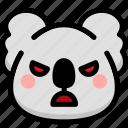 angry, emoji, emotion, expression, face, feeling, koala