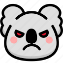 angry, emoji, emotion, expression, face, feeling, koala icon