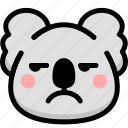 annoying, emoji, emotion, expression, face, feeling, koala icon