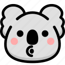 blowing, emoji, emotion, expression, face, feeling, koala icon