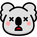 dead, emoji, emotion, expression, face, feeling, koala icon
