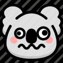 dizzy, emoji, emotion, expression, face, feeling, koala icon