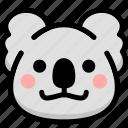 emoji, emotion, expression, face, feeling, grinning, koala icon