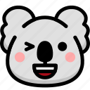 emoji, emotion, expression, face, feeling, happy, koala icon