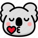 emoji, emotion, expression, face, feeling, kiss, koala icon