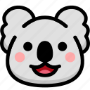 emoji, emotion, expression, face, feeling, koala, laughing icon