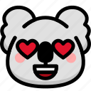 emoji, emotion, expression, face, feeling, koala, love icon