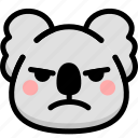 emoji, emotion, expression, face, feeling, koala, mad icon