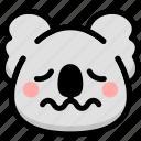 emoji, emotion, expression, face, feeling, koala, nervous icon