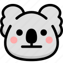 emoji, emotion, expression, face, feeling, koala, neutral icon