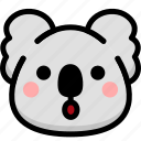 emoji, emotion, expression, face, feeling, koala, open mouth icon