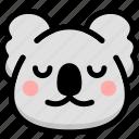 emoji, emotion, expression, face, feeling, koala, peace icon