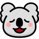 emoji, emotion, expression, face, feeling, koala, relax icon