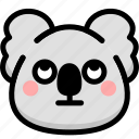 emoji, emotion, expression, face, feeling, koala, rolling eyes icon