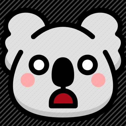emoji, emotion, expression, face, feeling, koala, shocked icon