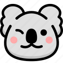 emoji, emotion, expression, face, feeling, koala, smile icon