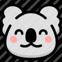 emoji, emotion, expression, face, feeling, koala, smile