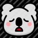 emoji, emotion, expression, face, feeling, koala, tried icon