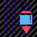 construction tool, instrument, plumb, plumb bob, plumb equipment icon