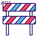 barrier, obstacle, road barrier, road sign, safety barrier icon