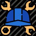 helmet, wrench, construction, tools, engineer