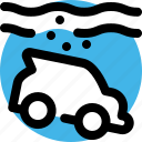 accident, car, disaster, flood, insurance, sink, water icon