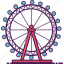 amusement, eye, ferris wheel, london, park icon