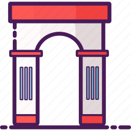 arc, arch, france, gate, landmarks, paris, stone icon