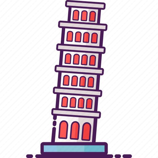 italy, landmarks, leaning tower, pisa, tower icon