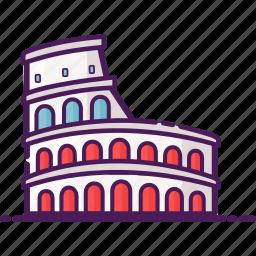 amphitheathre, architecture, colosseum, italy, landmark, rome icon