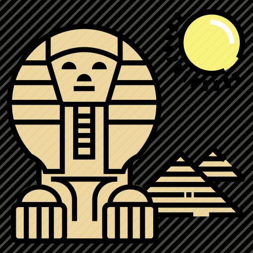 egypt, landmark, pyramid, sphinx icon
