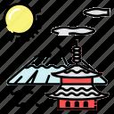 dojo, fuji, japan, ninja icon