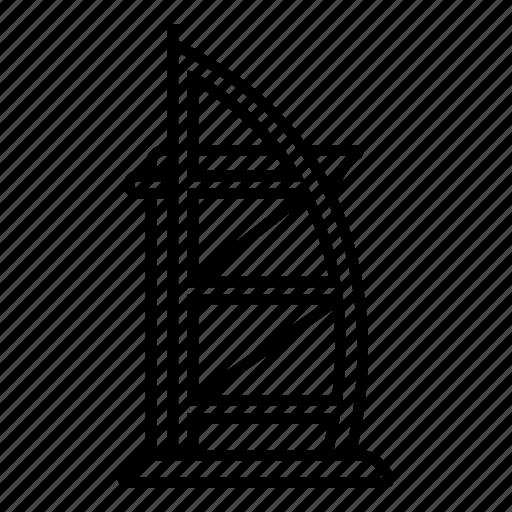 Architecture, burj al arab, dubai, landmark, skyscraper, tourism, travel icon - Download on Iconfinder