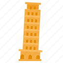 europe, italy, landmark, pisa, tower icon