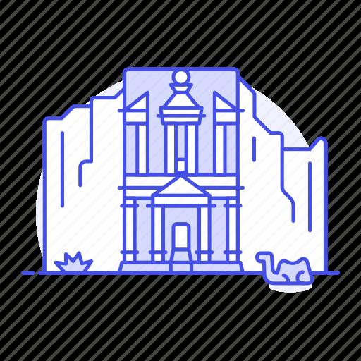 architecture, egypt, jordan, landmarks, national, petra, raqmu, symbol icon