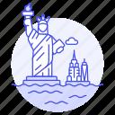 landmarks, liberty, manhattan, monument, national, new, statue, symbol, usa, york