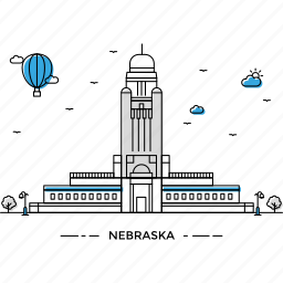 architecture, building, capital, landmark, monument, nebraska, state icon