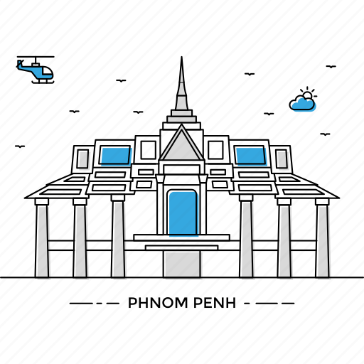 building, capital, landmark, monument, penh, phnom, state icon
