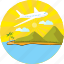 air, airplane, holiday, plane, sun, travel, vacation icon