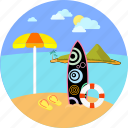 beach, seaside, summer, surfer, surfing, umbrella, water sports icon